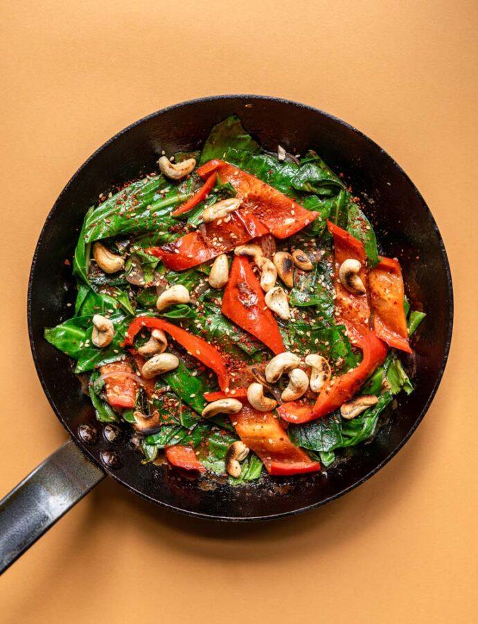 Vegansk stir fry med cashewnødder