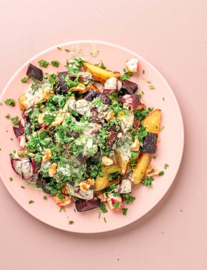 Kartoffel, rødbede, porre, feta, persille og andre gode ting