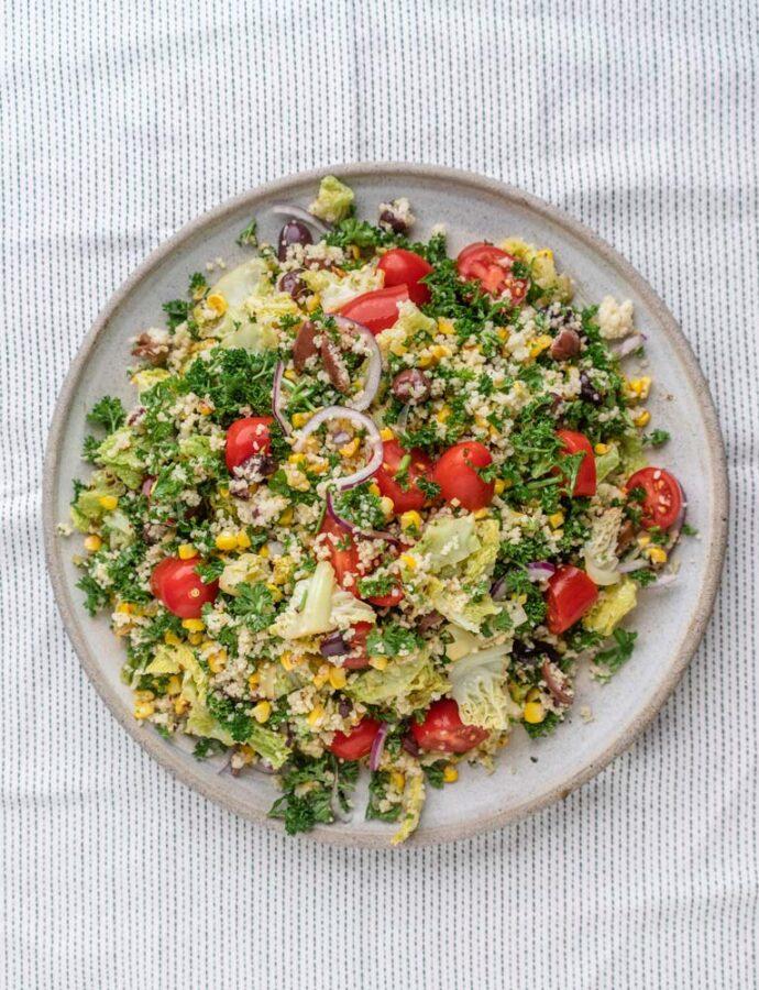 Couscoussalat m. majs, savoy og oliven