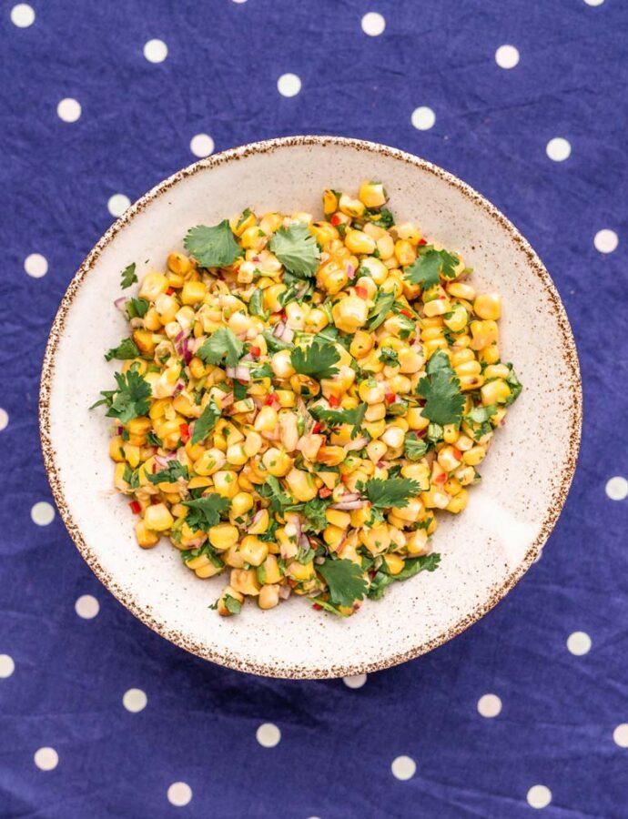 Grillet majssalsa med lime og koriander